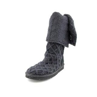 Ugg Australia Lattice Cardy Women Round Toe Canvas Black Winter Boot