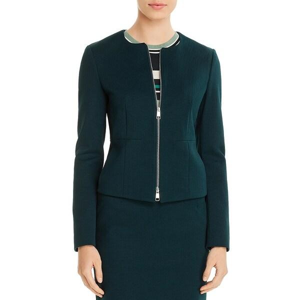 BOSS Hugo Boss Womens Jaxine Collarless Blazer Checkered Zip Front. Opens flyout.