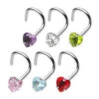 "Surgical Steel Nose Screw with 3mm Prong-Set Gem Heart - 18 GA 1/4"" Long (3mm Ball) (Sold Ind.)"