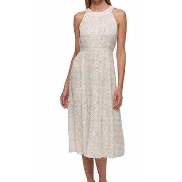 Tommy Hilfiger NEW White Gold Womens Size 8 Chiffon Sheath Dress ...