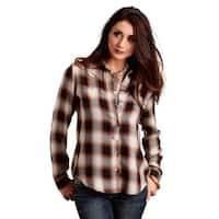 Stetson Western Shirt Womens Button L/S Brown