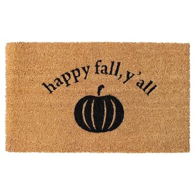 "RugSmith Black Machine Tufted Happy Fall, Y'all Doormat, 18"" x 30"" - 18"" x 30"""