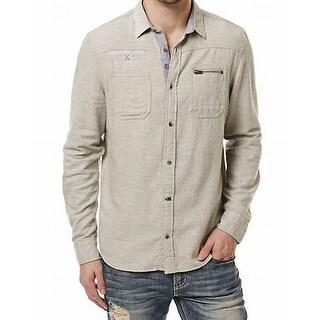 Buffalo David Bitton NEW Gray Mens Size Medium M Button Down Shirt