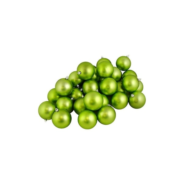 "60ct Matte Green Kiwi Shatterproof Christmas Ball Ornaments 2.5"" (60mm)"