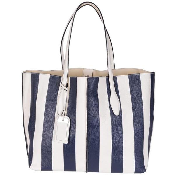 """Tod's Women's AMF Grande Modello Blue White Striped Leather Purse Tote - 16""""x12""""x7"""""""