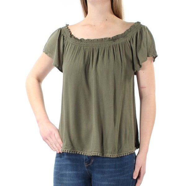 dbd7128a Shop BELLE DU JOUR Womens Green Ruched Short Sleeve Off Shoulder Top  Juniors Size: M - On Sale - Free Shipping On Orders Over $45 - Overstock -  21238222