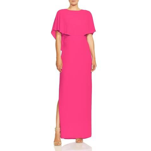 Halston Womens Evening Dress Cape Sleeve High Neck