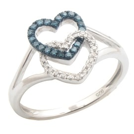Brand New Round Blue Color Diamond With Diamond Valentine Promise Ring