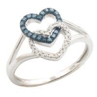 Brand New Round Blue Color Diamond With Diamond Valentine Promise Ring