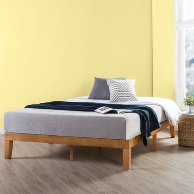 Classic Solid Wood Platform Bed Frame by Crown Comfort