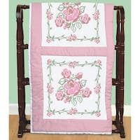 "Stamped White Quilt Blocks 18""X18"" 6/Pkg-Rose Bouquet"