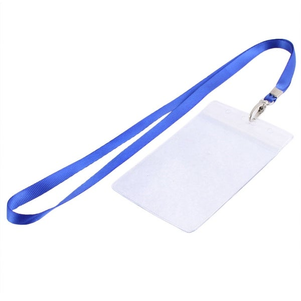 5 Pcs Blue Clear Vertical Design Strap Hole Business ID Card Badge Holder Pouch