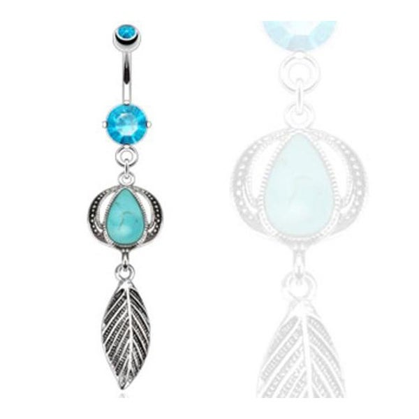 Nature Turquoise Semi Precious Stone Headress with Leaf Dangle Navel Belly Button Ring 316L