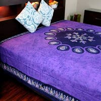 Multi Batik Cotton Paisley Floral Tapestry Wall Hanging Bedspread Tablecloth Beach Sheet Dorm Decor Purple Twin 70 x 106 inches