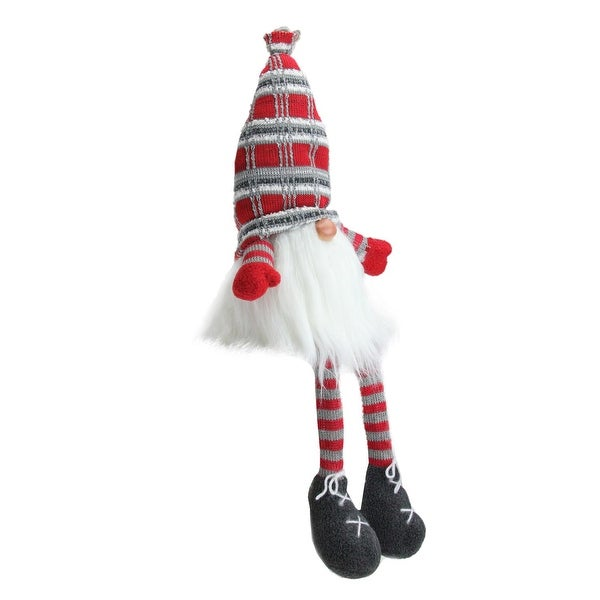 """23"""" Christmas Red and Gray Sitting Santa Gnome Figure with Soft Dangling Legs - WHITE"""