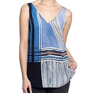 Nic + Zoe NEW Blue Women's Size Medium M Striped Tank Silk Blouse