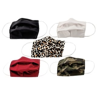 Link to 5-Pack Pleated Reusable Cotton Non-Medical Masks with Adjustable Nose Bridge Similar Items in Scarves & Wraps