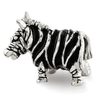 Sterling Silver Reflections Enameled Zebra Bead (4mm Diameter Hole)