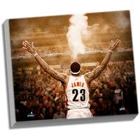 LeBron James Powder Back View 24x26 Stretched Canvas