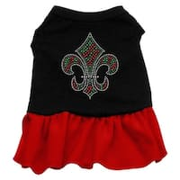 Christmas Fleur De Lis Rhinestone Dress Black with Red XL (16)