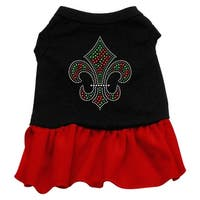 Christmas Fleur De Lis Rhinestone Dress Black with Red XS (8)