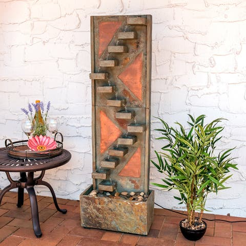 Sunnydaze Slate Staircase Fountain with Copper and LED Spotlight - 48-Inch