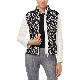 MICHAEL Michael Kors Womens Puffer Jacket Lace Quilted