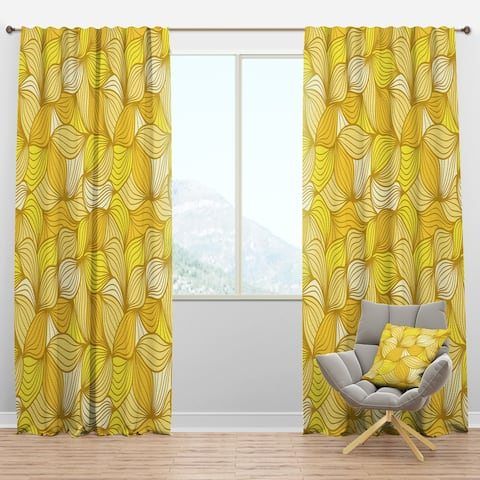 Designart 'Hand-Drawn Pattern with Waves' Bohemian & Eclectic Blackout Curtain Panel
