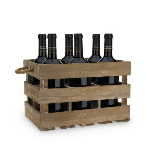 """Wooden 6 Bottle Crate by Twine - 13.5"""" x 8.75"""""""