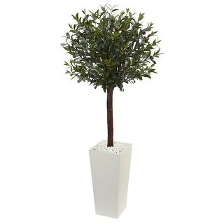 Nearly Natural 5' Olive Topiary Artificial Tree in White Tower Planter