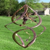 "17"" Spiral Planet Wind Spinner: Copper w/Glass Marble Accents Kinetic Hanging"