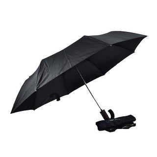Rain Pro Black Fold Umbrella with Curved Rubber Automatic Handle