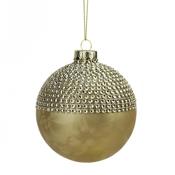 "3.75"" Glamour Time Gold Textured and Beaded Gem Glass Ball Christmas Ornament"