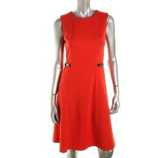 Calvin Klein Womens Ponte Sleeveless Wear to Work Dress