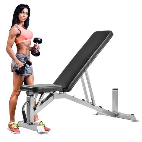 Adjustable Weight Bench With 5 back and 3 seat positions,Black+silver