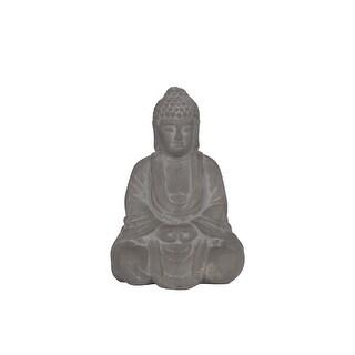 Ceramic Meditating Buddha Figurine With Rounded Ushnisha, Gray