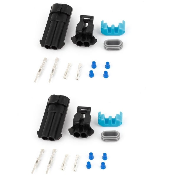 Unique Bargains 2 Set Black Wire Connector Plug in Waterproof Weather Proof for Car