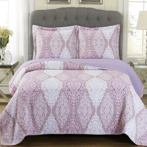 Luxury 3 Pieces Oversized Bedspread Set Reversible Quilt King Jewell
