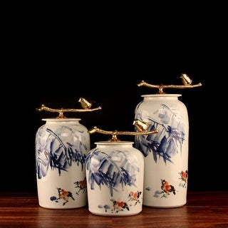 G Home Collection Luxury Hand Drawn Bird Blue Accent Porcelain Jar With Copper Lid