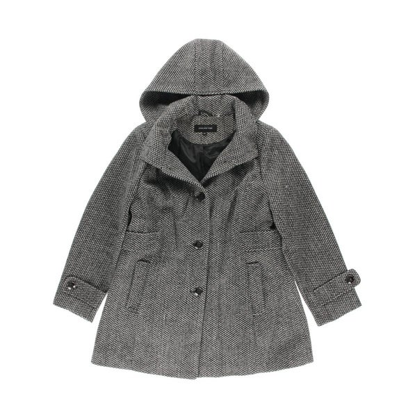 Jones New York Womens Plus Coat Tweed Button Front