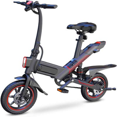 Electric Bike for Adults, 450W eBike with 18.6MPH up to 28 Mileage, 14in Air-Filled Tires, Dual Disc Braking, 3 Riding Modes