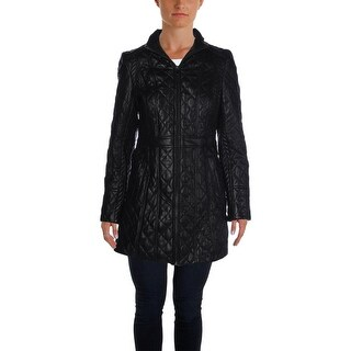 Jones New York Womens Leather Coat Fall Quilted