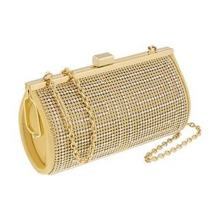 Scheilan Bright Gold Metal Crystal Embellished Clutch - bright gold