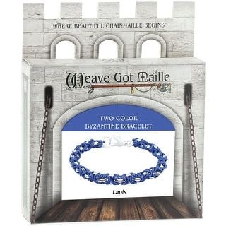 Chainmaile Byzantine Bracelet Jewelry Kit-Lapis/Blue & Silver