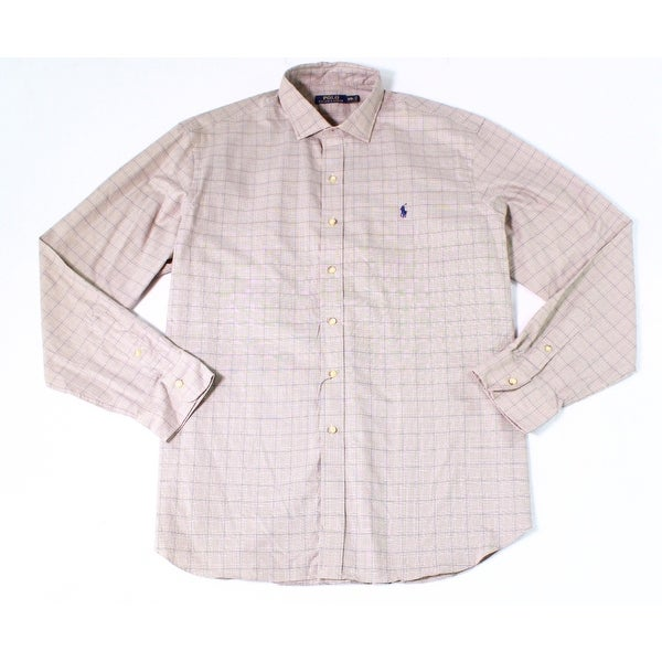 14fb1b7b Shop Polo Ralph Lauren NEW Beige Mens Size 2XL Slim-Fit Button Down Shirt - Free  Shipping Today - Overstock - 19988164