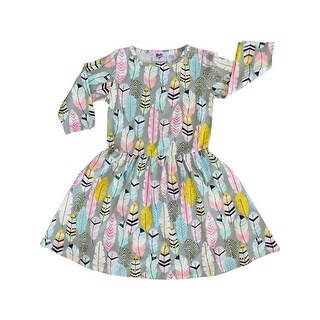 AnnLoren Little Girls Grey Feather Printed Swing Dress