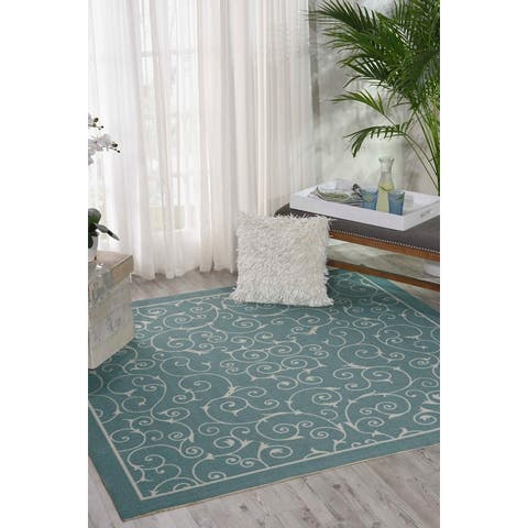 Nourison Home & Garden Scrolling Ivory Vines Indoor/Outdoor Area Rug