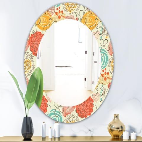 Designart 'Vintage Flowers 6' Mid-Century Mirror - Oval or Round Wall Mirror - Red