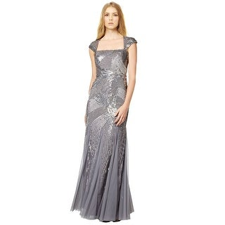 Adrianna Papell Sequin Beaded Cap Sleeve Evening Gown Dress