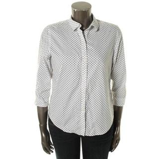 Lauren Ralph Lauren Womens Button-Down Top Cotton Polka Dot